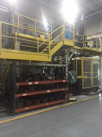 Hartig dual 15 pound Blow Molding Machine- In operation