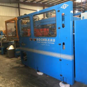 Rocheleau Model R-70 (10) Head Reciprocating Screw Blow Molding Machine