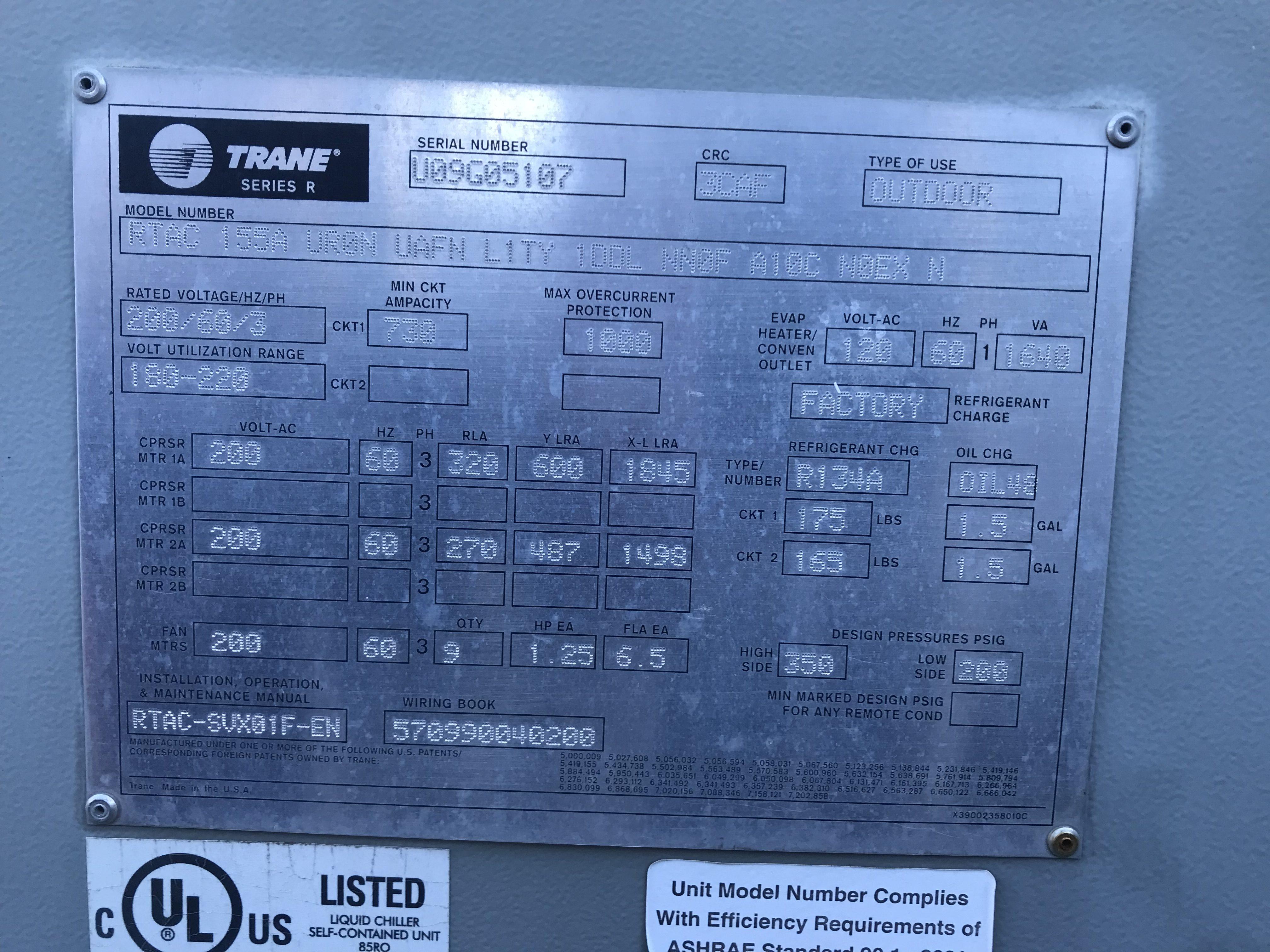 Trane rtac Chiller Parts Manual